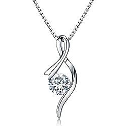 Femmes Collier en argent 925,en Zirconium cubique Pendentif Femmes JR INTL bijoux Chaîne italienne Collier Cadeau parfait