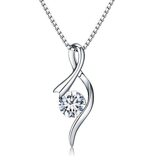 Halskette Damen 925 Sterling Silber Ketten Damen,JR INTL 3A Zirkonia Halskette Dame Notenschlüssel 45cm Kettenlänge