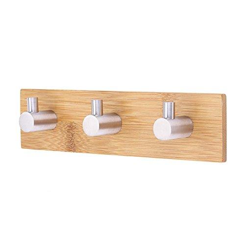Bambus Klebehaken, Edelstahl, massiv Dekorative Bambus Rack Reling-Tasche Wand Aufhänger Haken für Home Kitchen Mäntel Mützen Schlüssel Handtuch (Holz-hänger Dekorative)