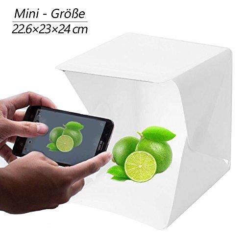 Mini Fotostudio Foto Lichtzelt 22,6x23x24 Zoll Tragbare Licht Cube mit LED-Licht Foto Box mit weißem Hintergrund