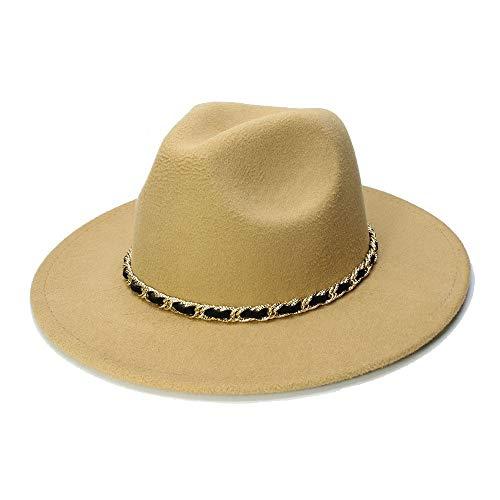 MTX-Sonnenhüte Hut, Winter Herbst Nachahmung Woolen Frauen Männer Damen Fedoras Top Jazz Hut Europäischen Amerikanischen Runde Caps Bowler Hut (Farbe : Khaki, Größe : 56-58cm)