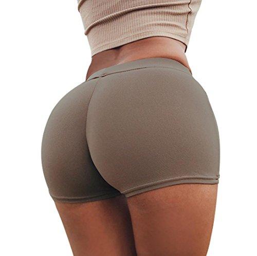 SHOBDW Pantalones de Verano Mujeres Shorts Deportivos Gimnasio de Moda Workout Waistband Skinny Yoga Short Pants (S, Café)