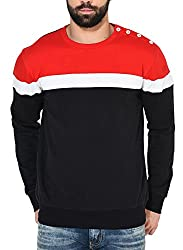 GRITSTONES Red/White/Black Full Sleeve Round Neck Sweatshirt