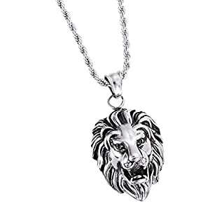 Daesar Men Necklace Stainless Steel Necklace Pendant Lion's Head Silver Necklaces Pendant