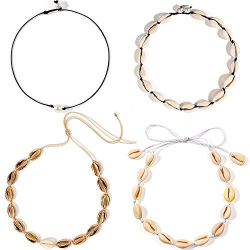 Bascolor 4 Stück Muschelkette Choker Muschel Halskette für Damen Kauri Muschel Choker Kette Perlenkette Schwarz Choker mit Perle Charm Boho Schmuck Halsketten für Frauen Mädchen