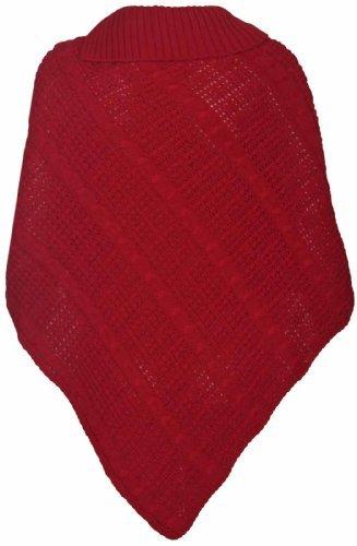 Damen Umhang Umhängetuch Lang Strickpulli Gefalteter Rollkragen Knopf Pulli Damen Poncho Top Einheitsgröße - Einheitsgröße, Rot