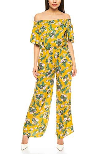 151c22bb723d24 Kendindza Damen Overall Allover-Print   Floral Jumpsuit   Flower Hosenazug  (Gelb, S/M)