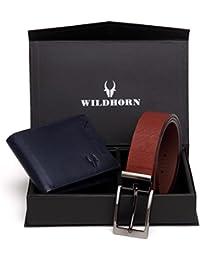 WildHorn Men Blue Genuine Leather Wallet Gift Set Combo Of Wallet And Belt