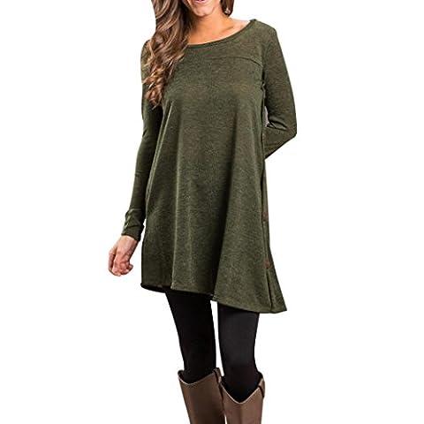 Igemy Frau Lange Ärmel Solides Hemd Sweatshirt Pullover Tops Bluse (XL, Armeegrün) (Langarm Schwangerschafts-tunika)