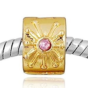 Andante-Stones 14K Gold Bead Clip Stopper mit 2 Zirkonia (Rosa) Element Kugel für European Beads + Organzasäckchen