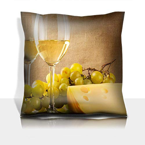 ZMYGH Throw Pillowcase Cotton Satin Comfortable Decorative Soft Pillow Covers Protector Sofa 18x18 1 Pack Two Glasses of White Wine a Bunch of White Grapes and Cheese -