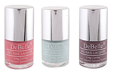 DeBelle Nail Polish Combo offer Pack of 3 (Baby Pink, Mint Blue, Mauve)