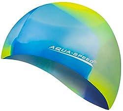 Aqua Speed Badekappe Herren | Silikon | Bademütze | Badehaube | Mehrfarbig + Aufbewahrungstasche