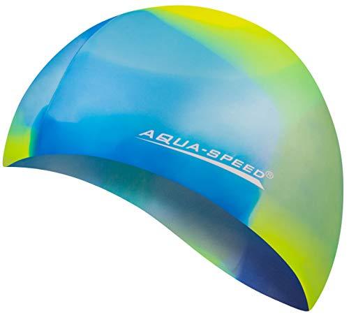Aqua Speed Badekappe Herren   Silikon   Bademütze   Badehaube   Mehrfarbig + Aufbewahrungstasche