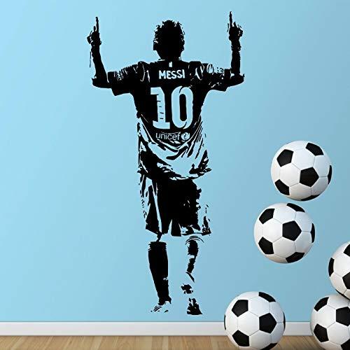 Qsdfcc Lionel Messi Abbildung Art Vinyl Wandaufkleber Für Kinderzimmer Fußball Spieler Schlafzimmer Dekor fußballstar Aufkleber Fußball FA 57x110 cm (Fußball-spieler Für Halloween)