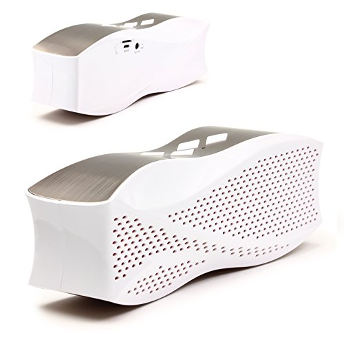 Original Urcover Designer Bluetooth Lautsprecher Boxen kompatibel mit jedem Bluetooth Gerät für Freizeit Büro & Hause 30 Meter Empfang 90 DB Lautstärke Wireless Kabellos OP1004 Weiß/Silber