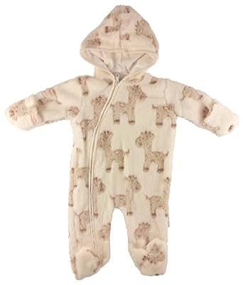 BABY BOYS CREAM HOODED GIRAFFE SLEEPSUIT SNOWSUIT ALL IN ...
