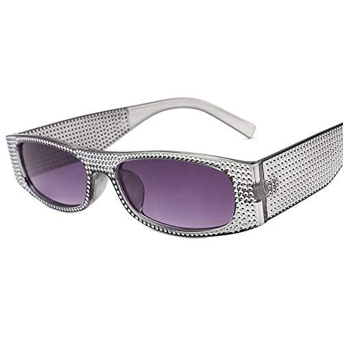 Yangjing-hl Quadratische Imitation Diamant Retro Sonnenbrille weiblich europäische und amerikanische Trend kleine Box Sonnenbrille, Siehe Abbildung, C7 ash/Double ash -