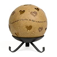 Pavilion Gift Company Comfort Candles 5-Inch Round Candle Holder Pierced with Hearts, Love
