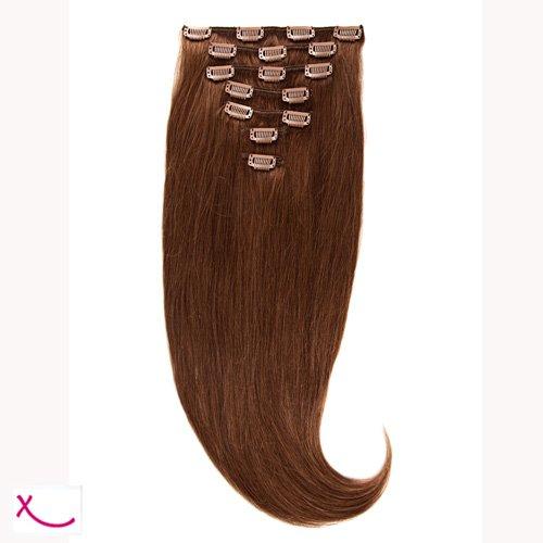 Extiff - Extension cheveux naturel clip lisse - 50cm 100gr - qualité Rémy Hair (6 - Marron Acajou) - 7 bandes au total 15 clips