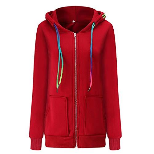CommittedeDamen Pulli Sweatshirts Hoodie Sport Langarm Reißverschluss Pullover Outerwear Hohem Kragen Feste Sweatshirt Pullover Tops Slim Fit PulloverKleid