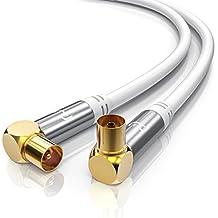 3,0m cavo per antenna TV con Gomito 90° | Misura della schermatura 135 dB / Resistenza 75 Ohm | Presa coassiale maschio - femmina (Presa IEC su porta IEC) | Corpo in metallo / contatti dorati | bianco