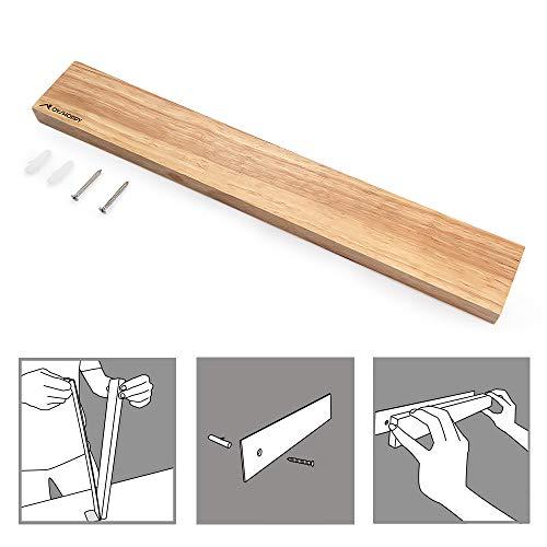 Oyshopp Edelstahl Magnet Messerhalter Holz Magnetleiste Magnetischen Wand Montierten Messer Rack Magnetmesserstreifen Sparen Platz Holzmaserung 16 In