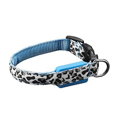 FONPOO Mode Leopard LED Hundehalsband einstellbar für Small Medium Hunde Katzen 5 angezeigt Farbe Sicherheits-Kragen mit Wasserdichtes Glühend Haustier-Katzen-Hundehalsband für Nacht Sicherheit
