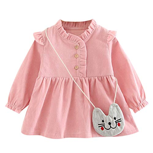 INLLADDY KostüM Kleid Baby MäDchen Langarm Einfarbig LäSsig Rock Party Kleid Kinderbekleidung +KäTzchen UmhäNgetasche Rosa 0-6Monate (0 6 Monate Kuh Kostüm)