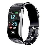 ZhongYe Smartwatch für Damen und Herren IP67 Wasserdichter Fitness Tracker mit Herzfrequenzmessung Schrittzähler mit Vibrationsalarm (Schwarz)