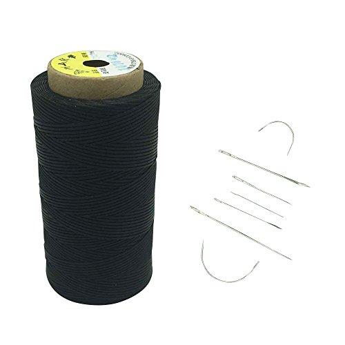 Yulakes 260 Meter 1mm Leder gewachst Wachs Thread Cord Ledergarn Nähen Handwerk Mit 7pcs lederne nähende Nadeln (schwarz) (Wachs, Faden Schwarz)