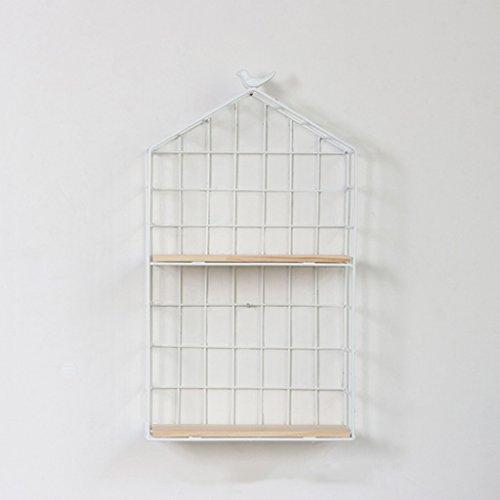 L-LXJJ 2 Tiers weiß Multifunktions-Metall-Mesh-Gitter, Wand-Dekor/Wandbehang/Wand montiert Frame-Schindel Storage-Ständer/Bücherregal/Aufhänger für Küche/Bar/Wohnzimmer/Restaurant (Schindel-wand-dekor)