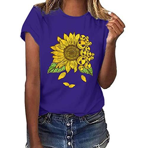 routinfly Frauen Kurzarm T-Shirt,Kurzärmliges bedrucktes Sonnenblumen-T-Shirt in Übergröße Drucken Sie lustige Sonnenblume Kurzarm T-Shirt Bluse Tops M-3XL -