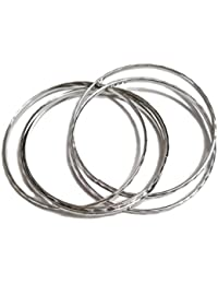 Skhoza Artificial Metal Alloy Silver Bangles(set Of 5) For Women