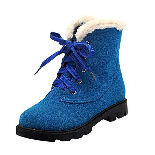 ZHANSANFM Kurz Stiefel Damen Plus Samt Winterschuhe Lace up Freizeit Outdoor Schneestiefel Rutschfeste Bequemer Warm Stiefeletten Wildleder Freizeitschuhe Trekkingstiefel (37 EU, Blau) (Wildleder Fransen Bootie)