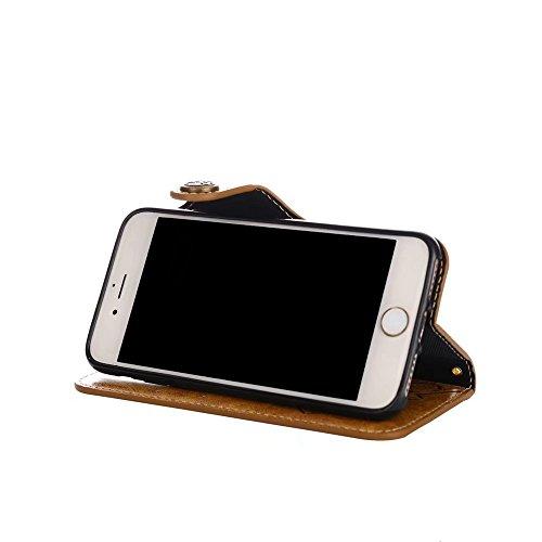 Geprägte Floral Retro PU-Leder Magnetverschluss Geldbörse Tasche mit Lanyard für iPhone 6 Plus / 6s Plus ( Color : Khaki ) Khaki