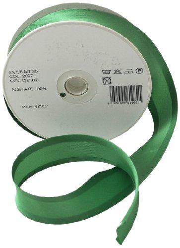 Inastri - Nastro sbieco di raso acetato 25/ 5/ 5 mm, verde (Tessuto Raso Verde)