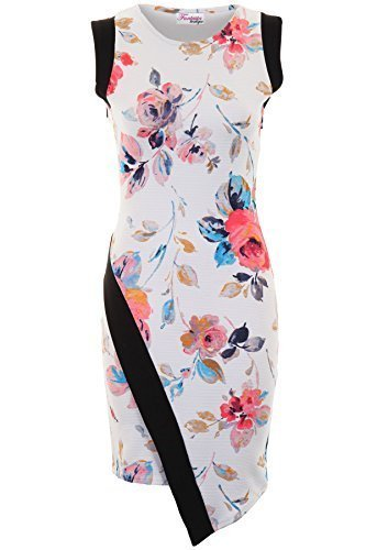 FANTASIA BOUTIQUE ® Damen Kleid Ärmellos Asymetrisch Blumendruck Panel Texturiert Enganliegend Floral Print