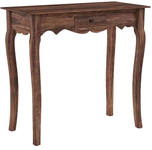 Riess Ambiente Massiver Schreibtisch Hemingway 80cm braun Mahagoni mit Schublade Tisch Bürotisch Schminktisch