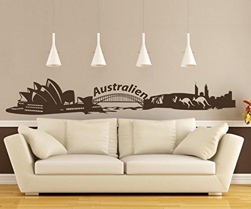 Wandtattoo XXL Skyline Australien Känguru Wand Aufkleber Land City Staat 1M037, Farbe:Dunkelgrau Matt;Länge des Motives:200cm