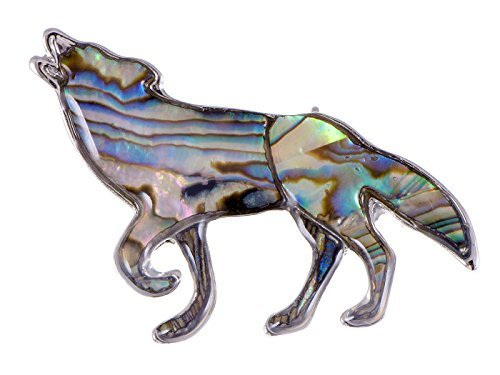 Alilang Cabel Mountain King Bunt Stein Abalone Muschel Indianer Silber Heulender Wolf ()