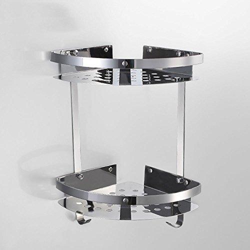Badezimmer-Ständer WC-Eckrahmen Edelstahl Zwei - Tier dreieckige Körbe Badezimmer Zubehör (Color : A) -