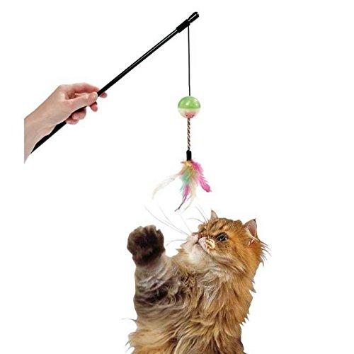KARLIE Katzenangel DAY AND NIGHT mit Leuchtball und Feder