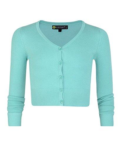 LotMart Mädchen langärmlig abgeschnitten Strickjacke Kinder V-Ausschnitt Feinstrick Pullover TOP - Aqua, 116 (Aqua-strickjacke)