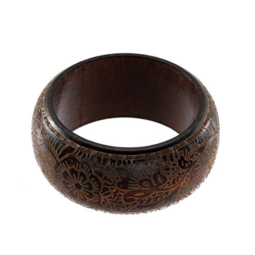 MHOOOA Armband Armreif Vintage Geschnitzte Braun Rot Holz Armreifen Böhmischen Ethnischen Mode DIY Armbänder Für Frauen Männer Geschenk Schmuck Zubehör