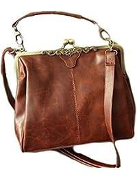Hengsong Femme Vintage Rétro Brun European Style Voyage/Shopping PU Cuir Sacs à Main/Sacs à Bandoulière 24x30cm