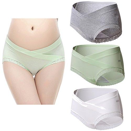 Topwhere 3 PCS Culottes En Coton Maternité Taille Basse Sous-Vêtements Grey+Green+White/3Pack