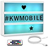 kwmobile Light Box A4 insegna luminosa LED - Lampada cinema decorativa - 7 colori 126 lettere nere - telecomando e cavo micro USB Cinematic Lightbox