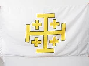 FLAGGE KREUZ ORDEN VOM HEILIGEN GRAB ZU JERUSALEM 90x90cm OSSH FAHNE 90 x 90 c