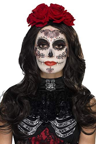 (Smiffys 44962 - Damen Tag der Toten Augenmaske, Gesichtsfarbe, Wimpern, Schmuck und Applikatoren, One Size, schwarz)